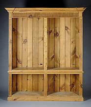 AN ANTIQUE ENGLISH CARVED NATURAL PINE BOOKCASE, LATE 19TH/EARLY 20TH CENTURY,