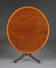 A GEORGE III MAHOGANY AND SATINWOOD CROSS-BANDED TILT TOP TABLE,