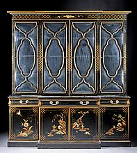 A REGENCY STYLE CHINOISERIE PARCEL GILT BLACK LACQUERED BREAKFRONT SECRETARY CABINET, 20TH CENTURY,