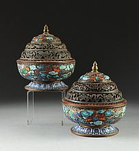 A PAIR OF TIBETAN POLYCHROME ENAMELED CLOISONNÉ COPPER INCENSE BURNERS, 18TH/19TH CENTURY,