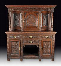 AN ANTIQUE RENAISSANCE REVIVAL CARVED OAK HUTCH BY HAMPTON & SONS, LONDON, LATE 19TH/EARLY 20TH CENTURY,