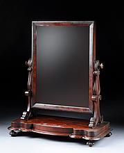 AN AMERICAN EMPIRE CARVED MAHOGANY GENTLEMAN'S SHAVING MIRROR, THIRD-QUARTER 19TH CENTURY,