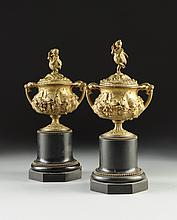 A PAIR OF ANTIQUE DORÉ BRONZE AND MARBLE CASSOLETTES,