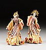 TWO VINTAGE AMERICAN BEADED AND GLAZED CLOTH ASIAN FAN DANCING MAIDENS, BY KATHI URBACH, SIGNED, REGISTER NUMBERED 0118122 AND 0118123, 1940'S,