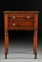 A FEDERAL FIGURED MAPLE AND CHERRY SIDE TABLE, EARLY 19TH CENTURY,