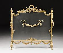 A LOUIS XVI STYLE GILT BRONZE FIREPLACE SCREEN, EARLY 20TH CENTURY,