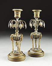 A PAIR OF DIMINUTIVE EMPIRE STYLE BRONZE CANDLESTICKS, LATE 19TH CENTURY,