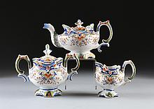 A THREE PIECE FRENCH FAIENCE TEA SERVICE, ROUEN, 20TH CENTURY,