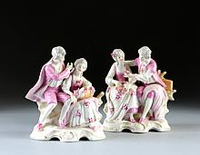 A PAIR OF GERMAN PINK GROUND FIGURAL GROUPS, BLUE CROWNED