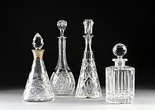 A GROUP OF FOUR CUT CRYSTAL LIQUOR DECANTERS, SECOND-HALF 20TH CENTURY,