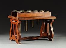 AN EDWARDIAN TABLE TOP WALNUT XYLOPHONE, 19TH CENTURY,