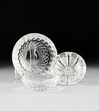 TWO WATERFORD CRYSTAL ASHTRAYS  AND ONE AMERICAN BRILLIANT CUT GLASS ASHTRAY, 20TH CENTURY,