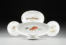 AN ASSEMBLED GROUP OF FIFTEEN  CONTINENTAL FRUITS DE MER PORCELAIN WARES, VARIOUS MANUFACTURERS, 20TH CENTURY,