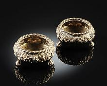 A PAIR OF STERLING SILVER SALT CELLARS, POSSIBLY AMERICAN, LATE 19TH CENTURY,