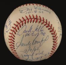 Perfect Game Pitchers autographed baseball. Rawlings B.Brown OAL baseball has been signed by (12) incl. Koufax, Larsen, Wells, Cone, Hunter, Witt, Bunning, and Johnson. Ink signatures rate 7/8-8 out of 10 with (2) lesser (Kenny Rogers and Dennis
