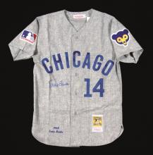 Ernie Banks autographed Chicago Cubs jersey. High quality jersey by Mitchell & Ness done in 1969 road style has been signed on the front