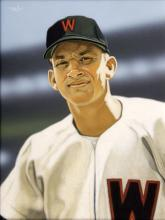 Harmon Killebrew original painting by Arthur Miller. Charming original oil on board portrait artwork showing Killebrew with the Washington Senators. Used by Upper Deck to produce 2008 Masterpieces card #49 and has been tastefully framed in gallery