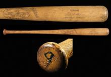 Fine Ted Williams professional model baseball bat c.1951-55. Louisville Slugger 125 model bat with