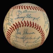 1956 New York Yankees team signed baseball (World Series Champions). Reach W.Harridge Official American League baseball has been signed by (29) incl. Stengel, Berra, Ford, Dickey, Larsen, Martin, Slaughter, Coleman, and others (no Mantle). Ink