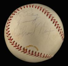 Vintage Richard Nixon single signed baseball c.1950s. Reach W.Harridge Official American League baseball has been signed on the side panel,