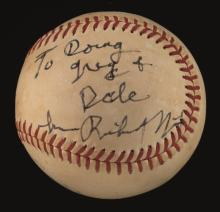 Richard Nixon single signed baseball. Reach J.Cronin Official American League baseball has been signed on the side panel,