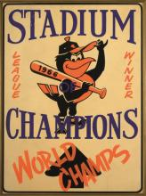 1966 Baltimore Orioles AL Champions advertising display sign. Original color lithographic paper on board display sign denoting their 1966 World Championship. 18