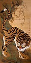 Fine Japanese scroll painting of tiger, 19th Century.