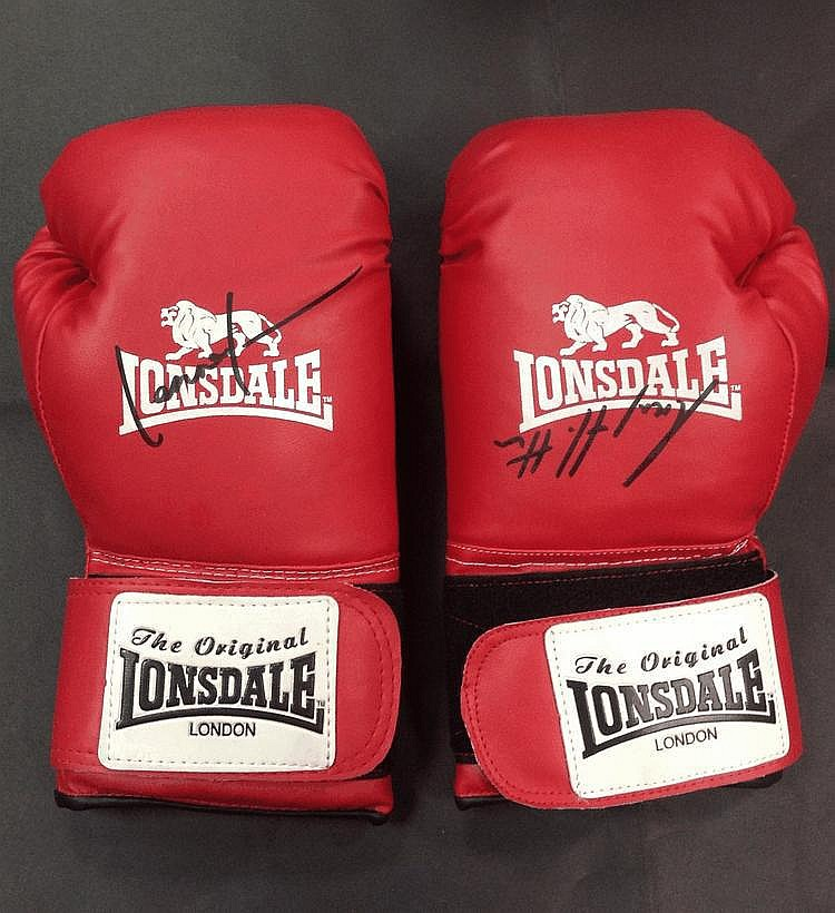 BOXING: Two red Lonsdale boxing gloves