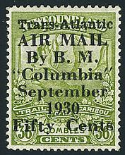 Newfoundland, airmail, 1930, 50¢ on 36¢ Columbia Flight