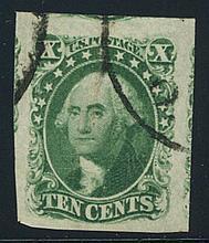 1855, 10¢ green, type III