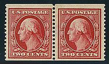 USA, 1910, 2¢ carmine coil pair