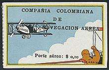 Colombia, 1920 10c flier in plane watching biplane
