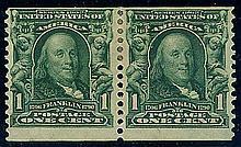 USA, 1908, 1¢ blue green coil, pair