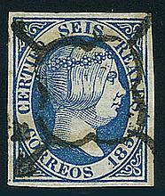 Spain, 1851, 6r blue Isabella II