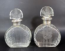 Lot of 2 Art-Deco crystal and silver bottles