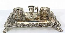 Antique silver-plated inkwell
