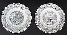 Lot of two French porcelain plates with Biblical scenes