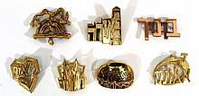 Lot of seven brooches with Jewish motifs