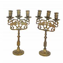 Pair of two Jewish brass candelabras