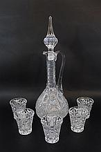 Set of a crystal decanter and five cups