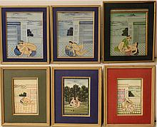 Lot of six drawings, scenes from the Kama Sutra