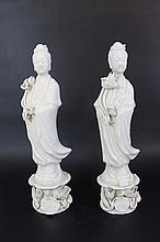 Pair of Blanc de Chine porcelain figurines