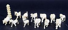 Lot of 13 miniature ivory figurine shaped as animals
