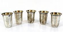 Set of five silver beakers
