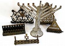 Lot of six Hanukkah Menorahs