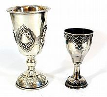 Lot of two silver Kiddush cups