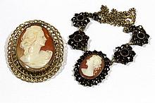 Lot of two Cameo jewelry items