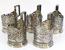 Lot of five Soviet silver cup holders