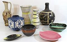 Lot of nine ceramic items by Lapid (Israel)