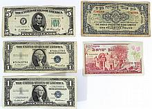 Lot of five banknotes